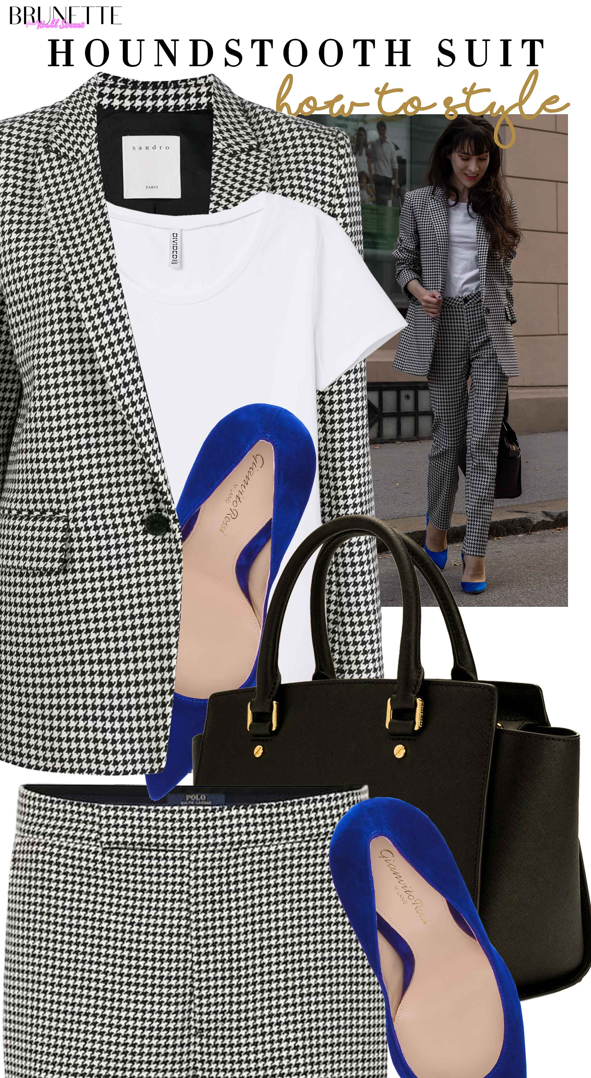 Brunette from Wall Street how to style hundstooth suit Sandro Paris Michael Kors bag Gianvito Rossi pumps