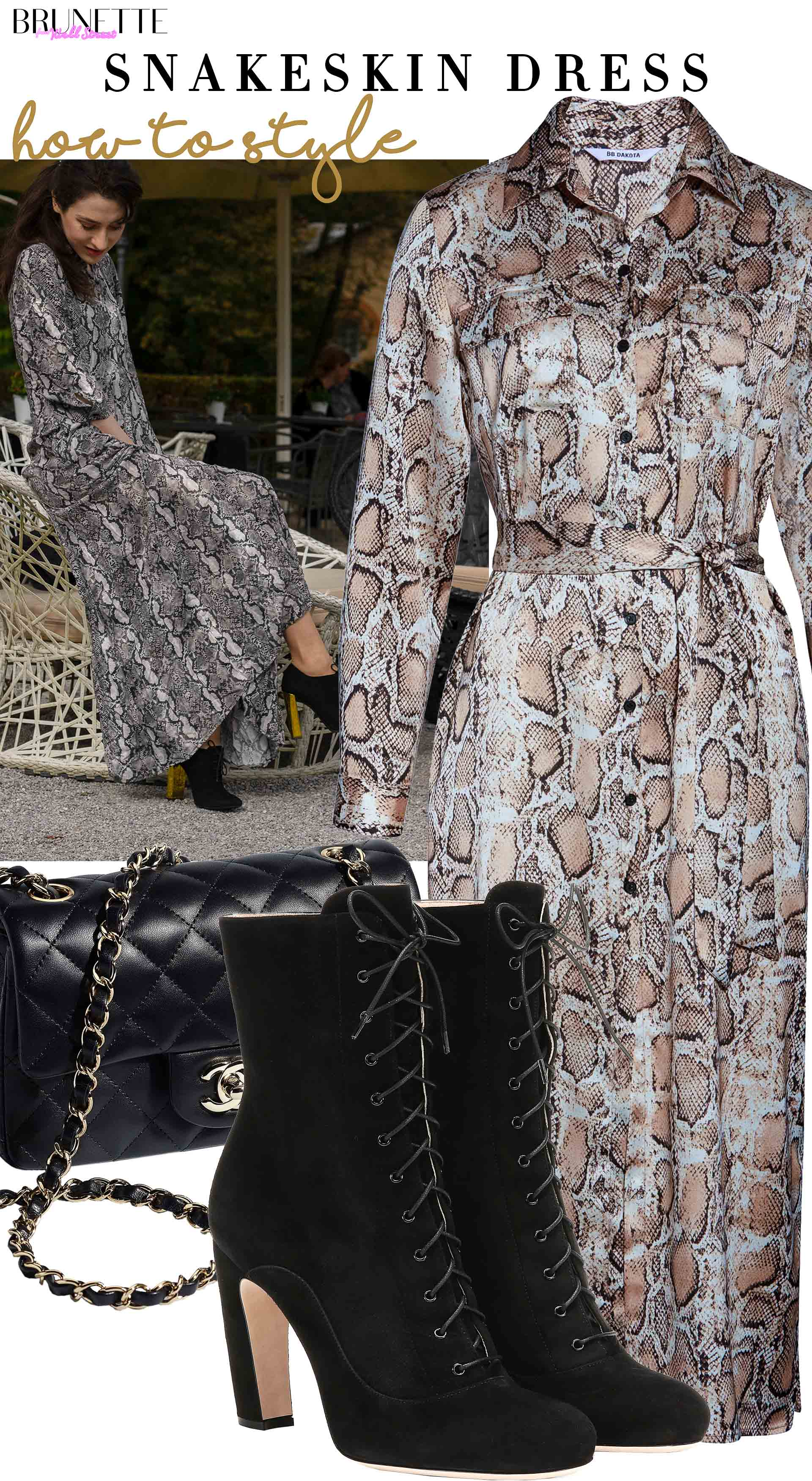 Brunette from Wall Street how to style long snakeskin dress Chanel flap bag black lace-up ankle boots fall brunch lunch date