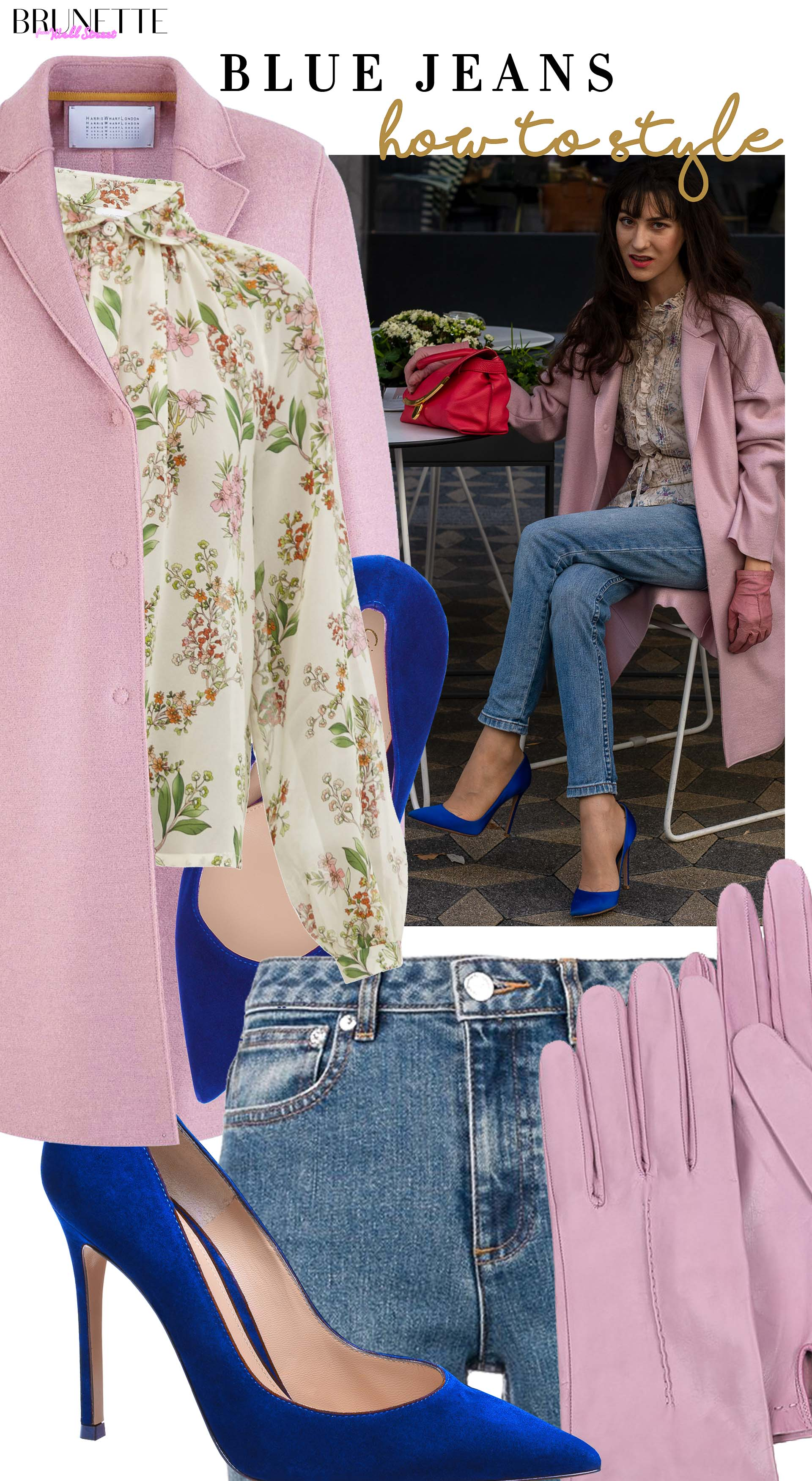 Brunette from Wall Street how to style pink coat blue keans blue pumps fall brunch date