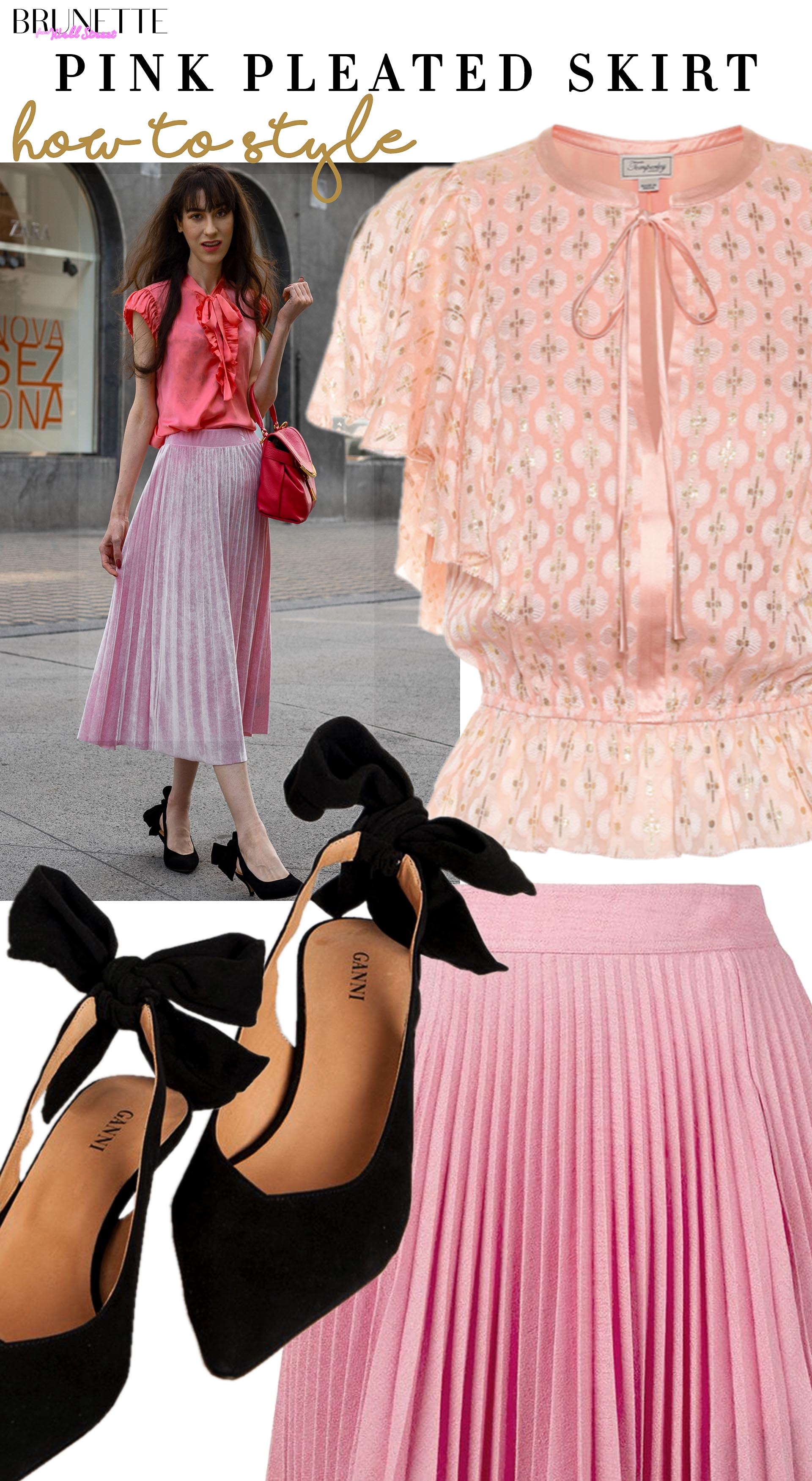 Brunette from Wall Street how to style pink pleated velvet skirt pink bow tie puff sleeves blouse ganni sabine black slingbacks