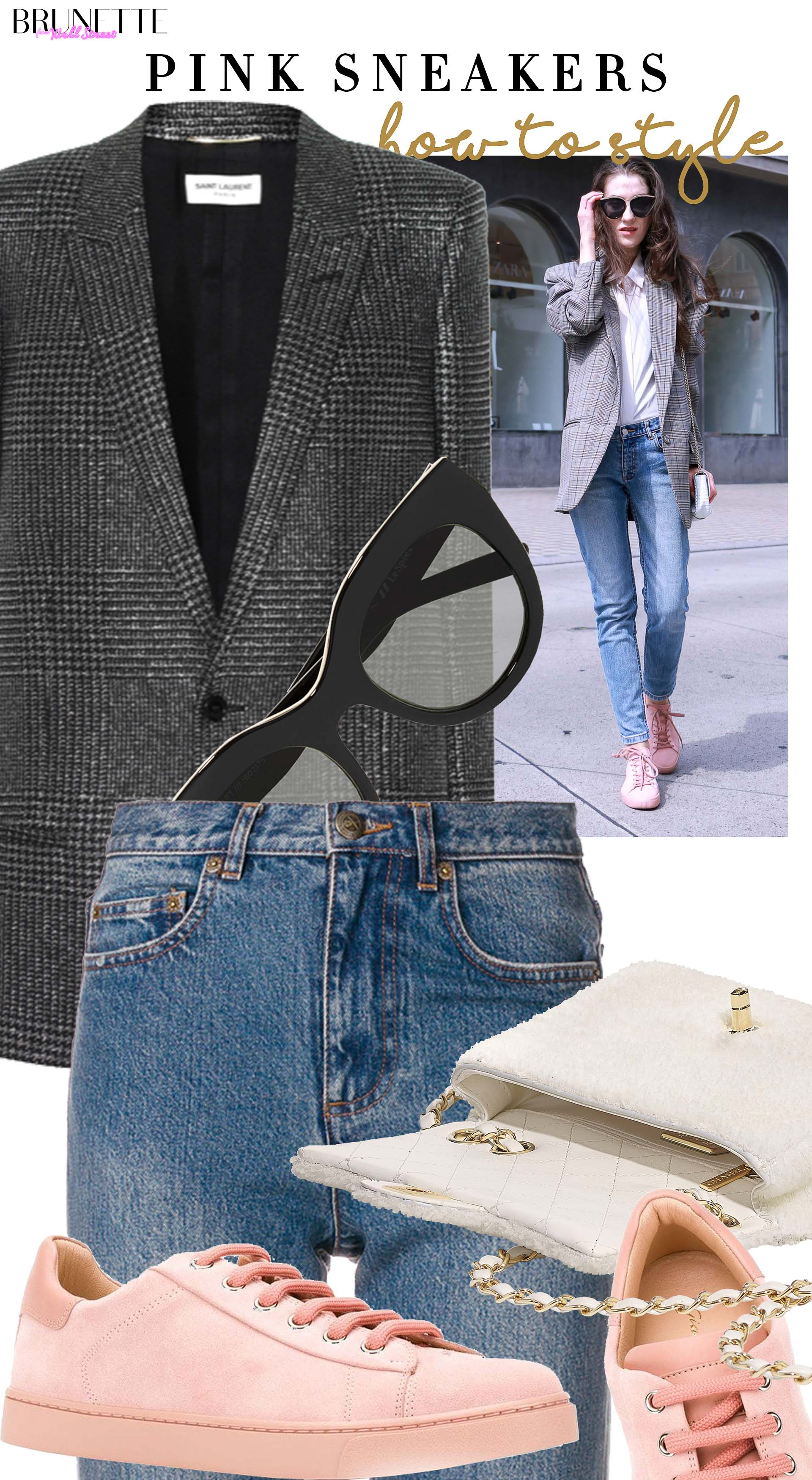 Brunette from Wall Street how to style pink sneakers grey blazer blue jeans Chanel bag