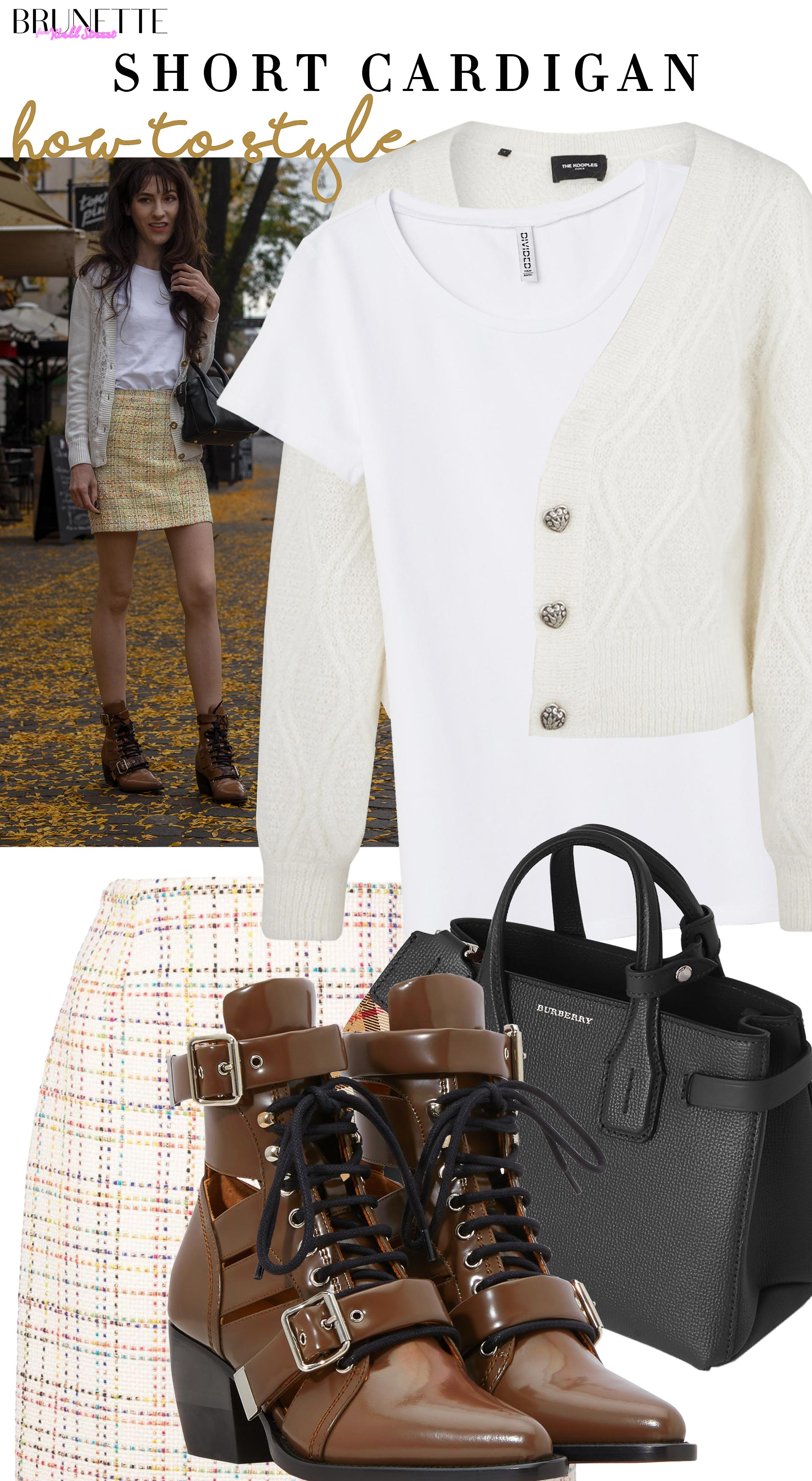 Brunette from Wall Street how to style short lace cardigan yellow tweed skirt chloe rylee ankle boots fall