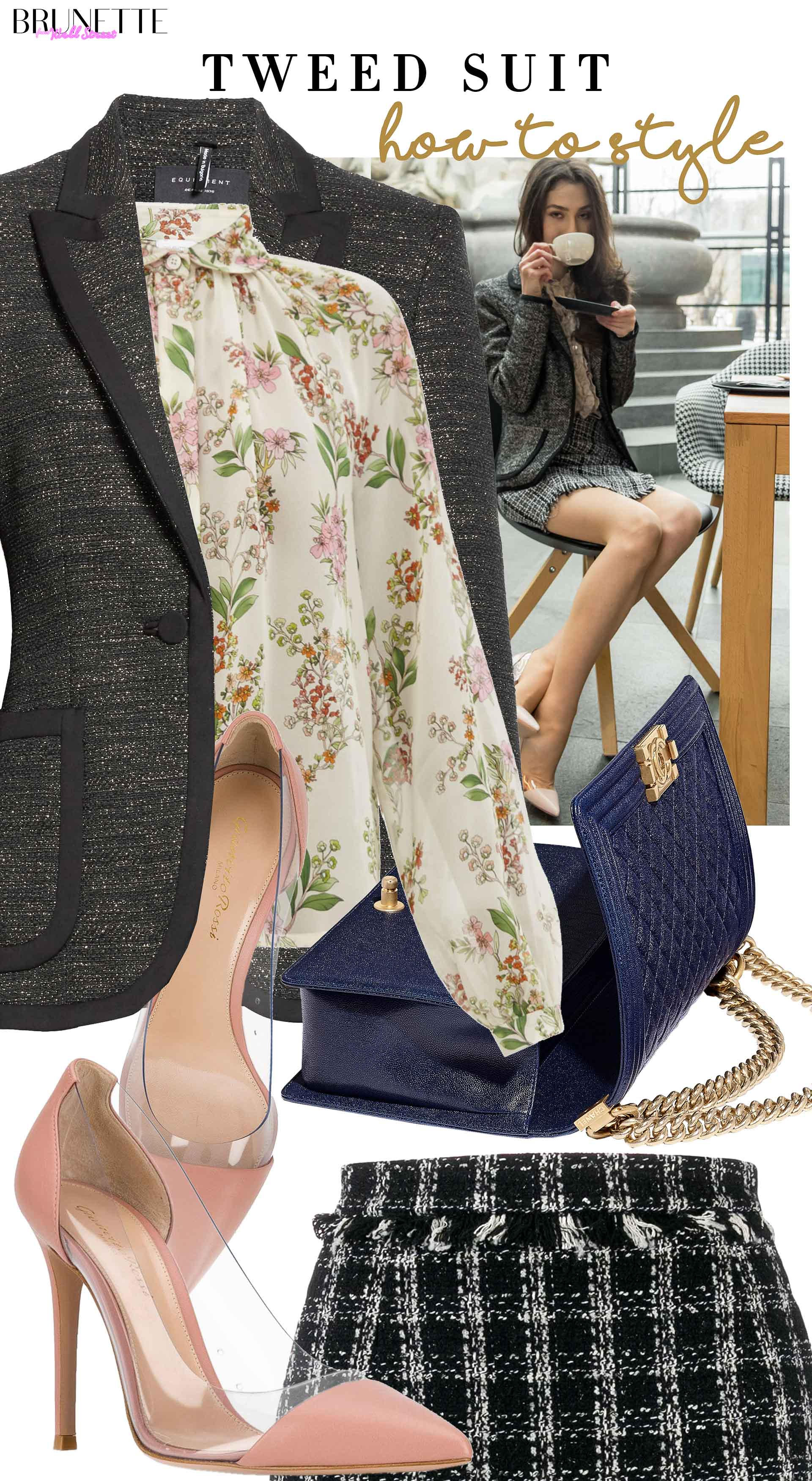 Brunette from Wall Street how to style tweed jacket tweed skirt Chanel bag Gianvito Rossi plexi pumps for afternoon tea party date