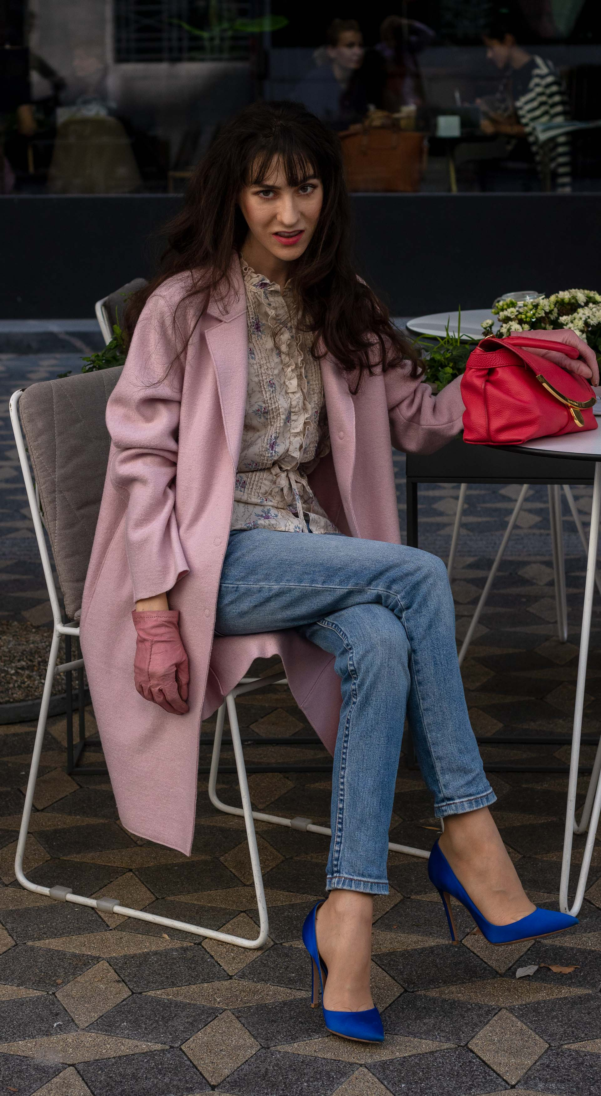 Fashion blogger Veronika Lipar of Brunette from Wall Street wearing Harris Wharf London pink coat blue A.P.C. Paris jeans floral blouse pink gloves Gianvito Rossi blue heels for brunch in autumn