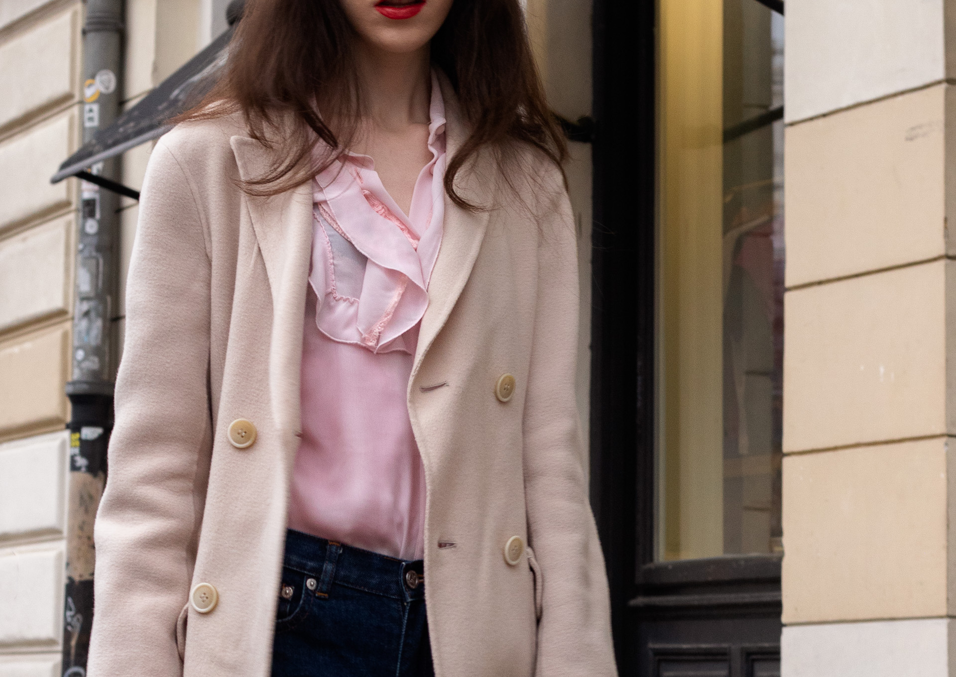 Fashion blogger Veronika Lipar of Brunette from Wall Street wearing A.P.C. navy blue jeans Weekend Max Mara double breasted coat Red Valentino pink blouse on the street in-between seasons