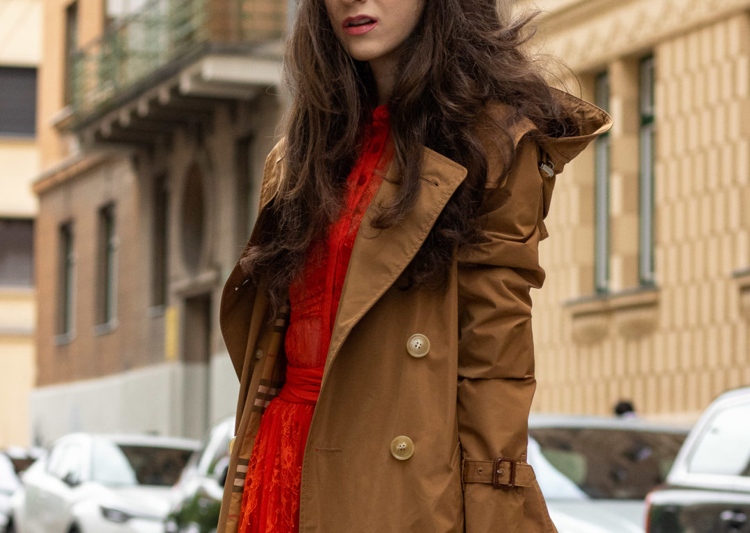 Fashion blogger Veronika Lipar of Brunette from Wall Street wearing orange Self-Portrait lace dress camel Burberry trench coat