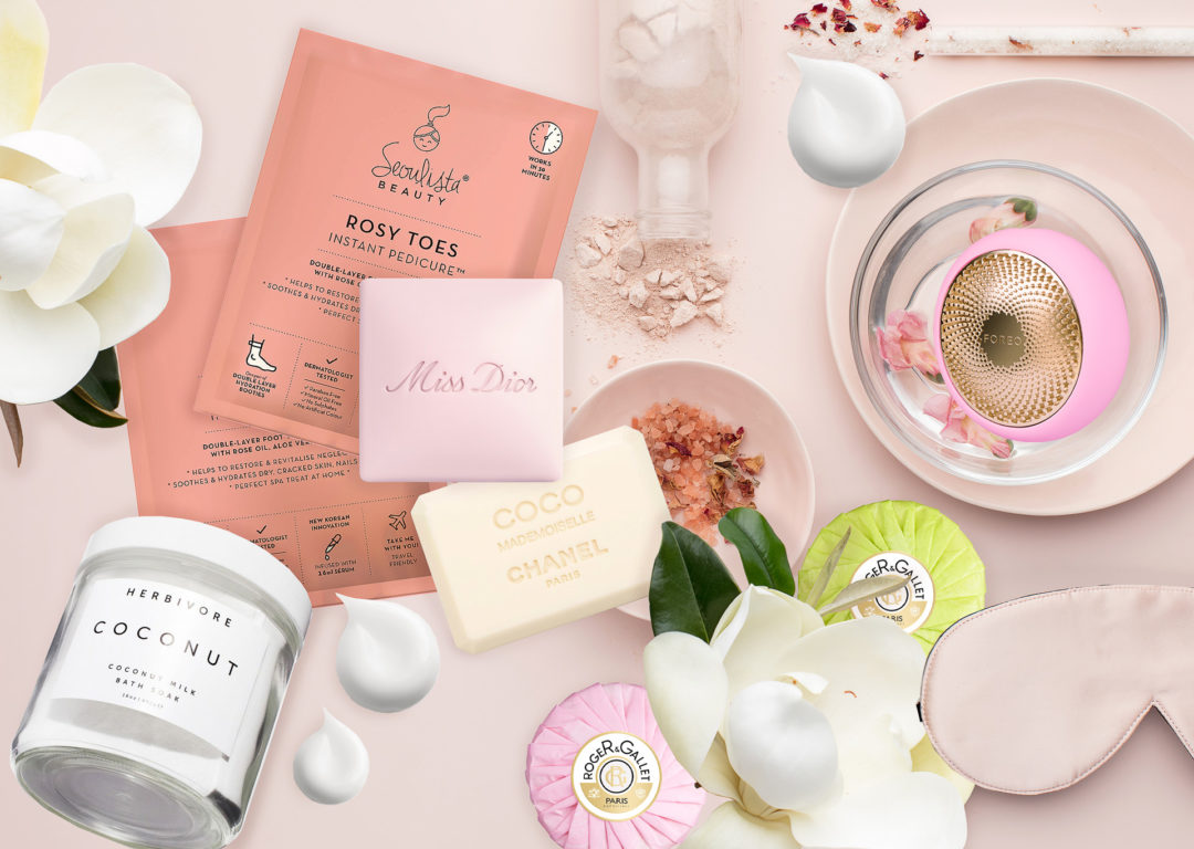 Brunette from Wall Street the best skincare products for home spa Miss Dior bar soap Chanel Coco Mademoiselle soap bar Roger & Gallet bar soaps Foreo UFO Herbivore Coconut bath soak Seolista beauty mask