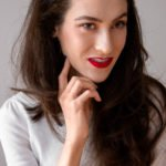 Veronika Lipar Brunette from Wall Street trendy office makeup Chanel true red Rouge Allure ink fusion Gucci mascara